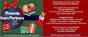 collecting donations for presents from partners at ibew united federal credit union