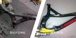 repair and repaint of a carbon fibre bike frame