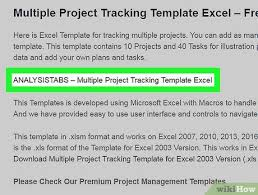 Project Tracking Spreadsheet Excel Free How To Track Multiple Projects In Excel On Pc Or Mac 13 Steps