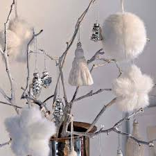 white christmas tree decorations made of faux fur and yarn