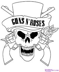 skull adult fantasy vampire guns n' roses coloring pages   Fantasy ...