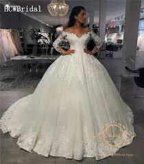 Glitter Princess Wedding Dress V Neck Long Sleeves 2019 New ...