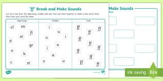 Phonics worksheets by level, preschool reading worksheets, kindergarten reading worksheets, 1st grade reading worksheets, 2nd grade reading wroksheets. Ff Break And Make Words Worksheet Teacher Made