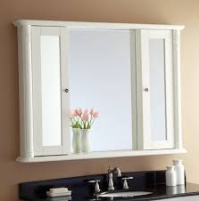 sliding bathroom mirror: cool white mirror cabinet bathroom with sliding door