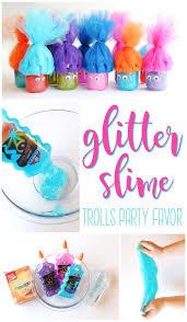 Trolls GLITTER SLIME - such a cute idea for a Trolls birthday party! #Trolls