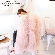pink faux fur coat fluffy women warm fake fur coat jacket plus size sheep fur coat pink faux h m pink faux fur jacket