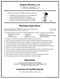 Resumes Lpn Resume Templates For Nurses Examples Skills With No