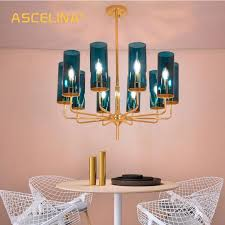 art living room dining room blue glass postmodern lighting study stained glass chandelier atmosphere luxury creative chandelier hanging lights kitchen large