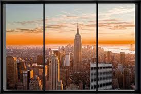 New York Poster Fenster Manhattan Skyline Window 36x24 Amazon
