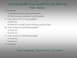 basic five paragraph essay ppt video online  basic five paragraph essay 2 a