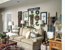 old wooden ladder decorating ideas rustic gallery wall above the sofa wooden ladder decorating ideas