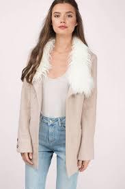 florence mauve faux fur coat