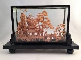Vintage 1950s Chinese Cork Art Chinese Diorama Shadow Box On