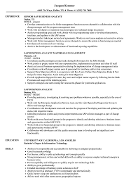 Sap Business Analyst Resume SAP Business Analyst Resume Samples Velvet Jobs 1