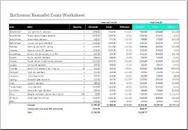 Home Renovation Spreadsheet For Costs Bathroom Renovation Cost Estimator Kitchen Remodel Canada