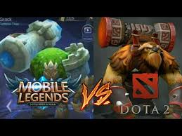 mobile legends vs dota 2 grock vs earth shaker youtube