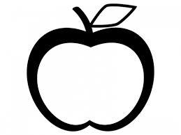 りんごの形白黒のフレーム飾り枠イラスト 無料イラスト かわいい