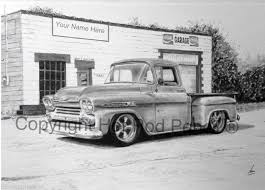 1959 Chevrolet Apache Pickup Truck Customized Pencil Drawing | Etsy