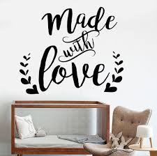 vinyl wall decal words made with love nursery quote romance stickers unique gift 1115ig  on wall decal quotes for nursery with vinyl wall decal words made with love nursery quote romance stickers