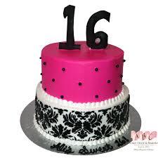 1407 Sweet 16 2 Layer Birthday Cake In Pink Black Abc Cake