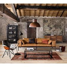industrial style living room furniture. 4 seater leather sofa in camel industrial style living room furniture