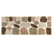 chesapeake merchandising 24 in x 60 in pebbles bath rug runner in khaki
