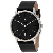 hamilton intra matic black dial leather men s watch h38455731