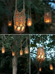 outdoor candle lighting. crochet hangers for candle jars or mason jar with tea lights votive candles outdoor lighting