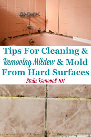 here are tips and tricks for cleaning and removing mildew and mold from hard surfaces