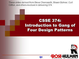 Design Patterns Gang Of Four Beauteous CSSE 48 Introduction To Gang Of Four Design Patterns Ppt Video