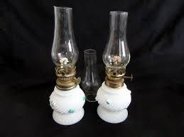 milk glass oil lamps w roses