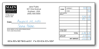 deposit slip examples balancetrack checking account management