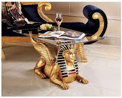 "18.5"" <b>Classic</b> Egyptian <b>Statue</b> Golden Collectible Sphinx <b>Glass</b> ..."