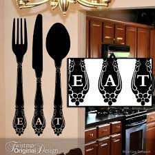 eat kitchen wall decor vinyl decal large fork and spoon on knife fork spoon kitchen wall art with spoon and fork wall decor diy youtube