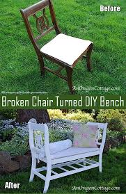 how to turn broken chairs into a diy bench