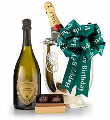 80th birthday chagne and chocolate gift basket