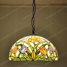 full image for vintage stained glass chandelier for free 40cm american tulip antique cafe