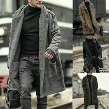 <b>Mens</b> Winter Warm <b>Plush</b> Cardigan Lamb Wool Trench <b>Coat Fleece</b> ...