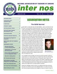 Inter Nos - Fall 2020 Newsletter by National Association of Teachers of  Singing, Inc. - issuu