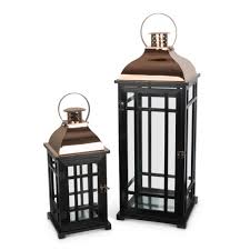 gerson black nested metal and wood lantern set of 2