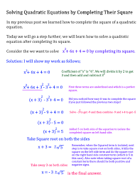 quadratic equation by completing the