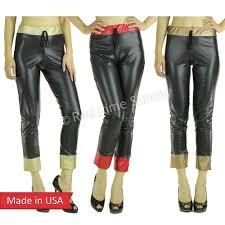 women faux leather straight leg capri drawstring jogger jogging pants bottom usa