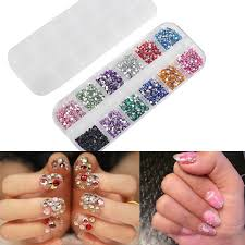 mix 2mm circle beads nail art tips rhinestones glitters acrylic uv gel gems decoration with hard case nail art tool 0603049 nail glitter nail painting from