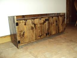 Short Media Cabinet Reclaimed Wood Look Storage Bench Rustic Entry Bench Mud Room