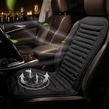 12v 24v cool fan car seat covers universal fit suv sedans chair pad cushion with motor driving summer ventilation gray black strip design car travel bed