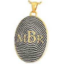 b b oval fingerprint jewelry with monogram fpmg 501