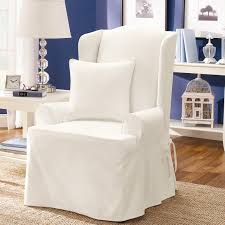 Living Room Chair Slipcovers Twill Supreme Wing Back Chair Slipcover 100 Percent Cotton