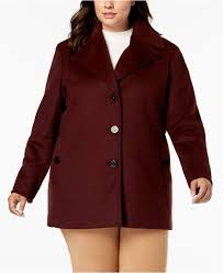 calvin klein women s red plus size single ted peacoat