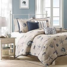 madison park nantucket blue cotton printed 6 piece duvet cover set