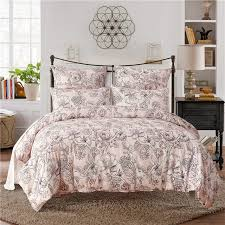 pale pink print polyester fiber pillowcase and duvet cover sets 2 3pcs bedlinen duvet cover usa twin queen king size bedding set zjlm31097